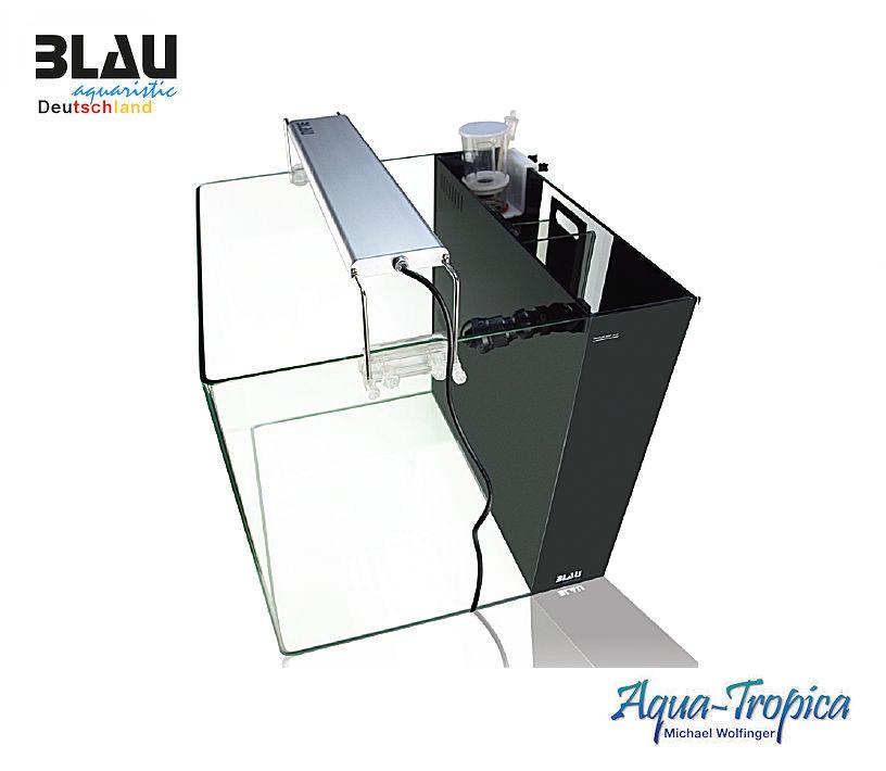 BLAU aquaristic Square 90 All in One Marine Black - Meerwasser Komplett Aquarium Set