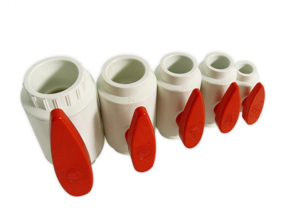 Royal Exclusiv PVC Kugelhahn weiß/rot 40mm kompakt